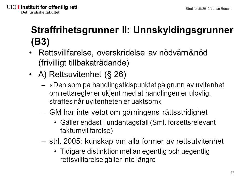 Strafferett/2015/Johan Boucht Straffrihetsgrunner II: Unnskyldingsgrunner (B3) Rettsvillfarelse, overskridelse av nödvärn&nöd (frivilligt tillbakaträd