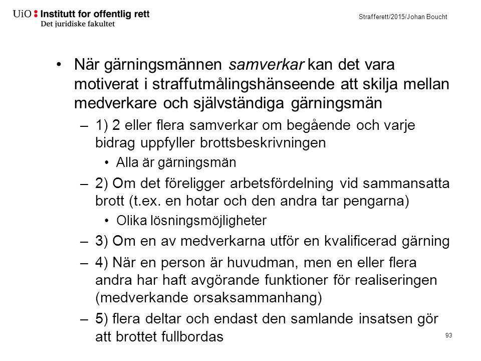 Strafferett/2015/Johan Boucht När gärningsmännen samverkar kan det vara motiverat i straffutmålingshänseende att skilja mellan medverkare och självstä