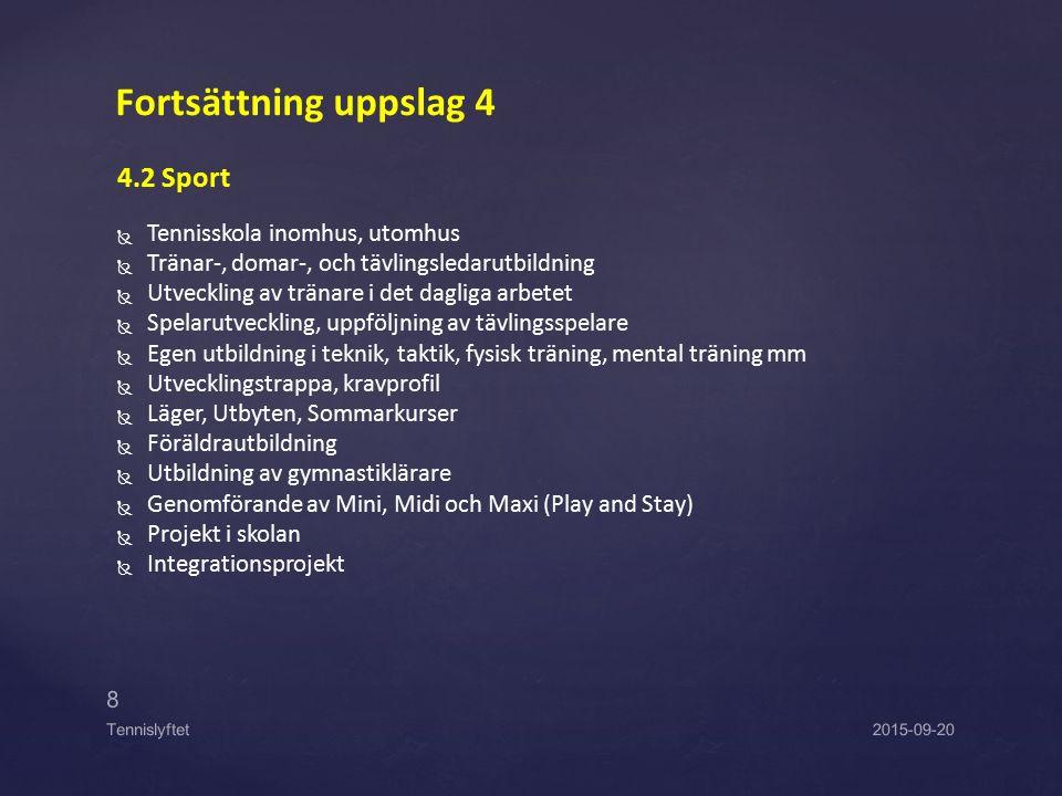 4.2 Sport   Tennisskola inomhus, utomhus   Tränar-, domar-, och tävlingsledarutbildning   Utveckling av tränare i det dagliga arbetet   Spelar