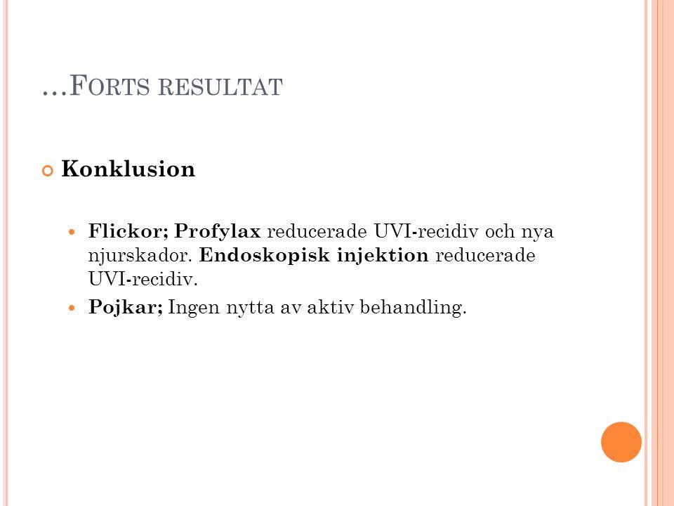 …F ORTS RESULTAT Konklusion Flickor; Profylax reducerade UVI-recidiv och nya njurskador. Endoskopisk injektion reducerade UVI-recidiv. Pojkar; Ingen n