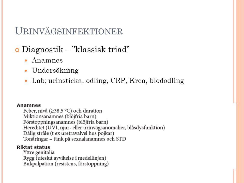 """U RINVÄGSINFEKTIONER Diagnostik – """"klassisk triad"""" Anamnes Undersökning Lab; urinsticka, odling, CRP, Krea, blododling"""