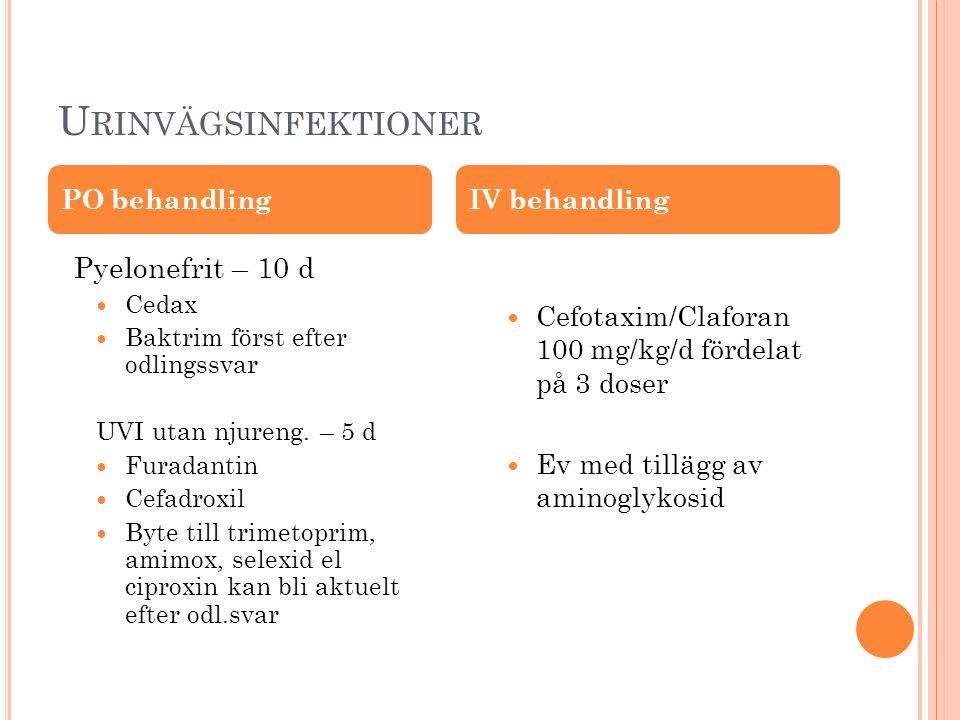 U RINVÄGSINFEKTIONER Pyelonefrit – 10 d Cedax Baktrim först efter odlingssvar UVI utan njureng. – 5 d Furadantin Cefadroxil Byte till trimetoprim, ami