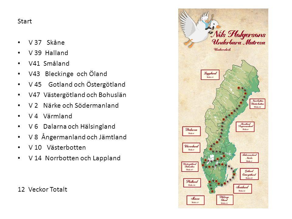 Start V 37 Skåne V 39 Halland V41 Småland V43 Bleckinge och Öland V 45 Gotland och Östergötland V47 Västergötland och Bohuslän V 2 Närke och Södermanland V 4 Värmland V 6 Dalarna och Hälsingland V 8 Ångermanland och Jämtland V 10 Västerbotten V 14 Norrbotten och Lappland 12 Veckor Totalt