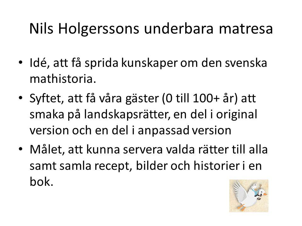 Nils Holgerssons underbara matresa Idé, att få sprida kunskaper om den svenska mathistoria.
