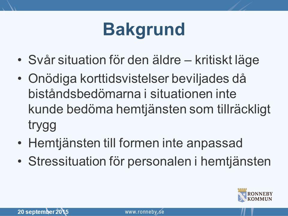 Bakgrund Svår situation för den äldre – kritiskt läge Onödiga korttidsvistelser beviljades då biståndsbedömarna i situationen inte kunde bedöma hemtjä
