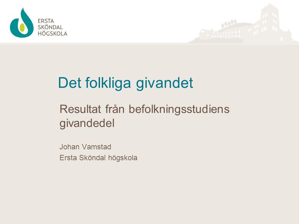 Det folkliga givandet Resultat från befolkningsstudiens givandedel Johan Vamstad Ersta Sköndal högskola