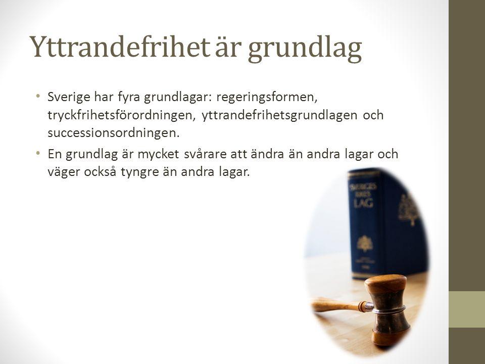 Yttrandefrihet är grundlag Sverige har fyra grundlagar: regeringsformen, tryckfrihetsförordningen, yttrandefrihetsgrundlagen och successionsordningen.