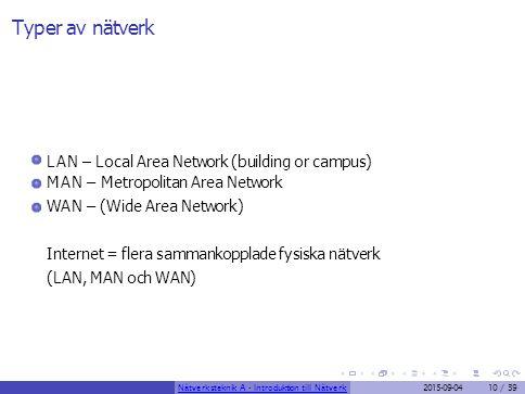 Typer av nätverk LAN – Local Area Network (building or campus) MAN – Metropolitan Area Network WAN – (Wide Area Network) Internet = flera sammankoppla