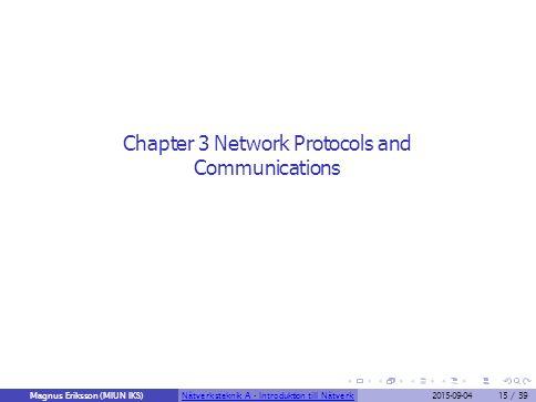 Chapter 3 Network Protocols and Communications Magnus Eriksson (MIUN IKS)Nätverksteknik A - Introduktion till Nätverk2015-09-0415 / 39