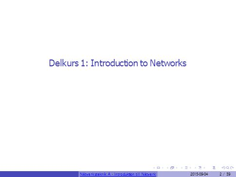 Delkurs 1: Introduction to Networks Nätverksteknik A - Introduktion till Nätverk2015-09-042 / 39