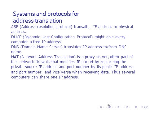 23 Systems and protocols for address translation ARP (Address resolution protocol) transaltes IP address to physical address. DHCP (Dynamic Host Confi