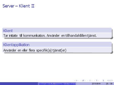 Server – Klient II Klient Tar initiativ till kommunikation. Använder en tillhandahållen tjänst. Klientapplikation Använder en eller flera specifik(a)