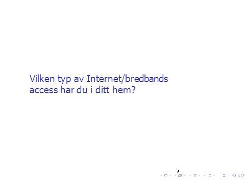 6 Vilken typ av Internet/bredbands access har du i ditt hem?
