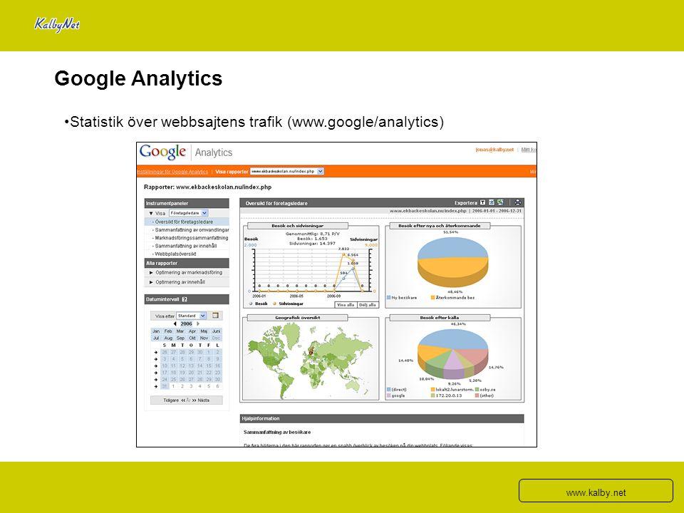 Google Analytics Statistik över webbsajtens trafik (www.google/analytics) www.kalby.net