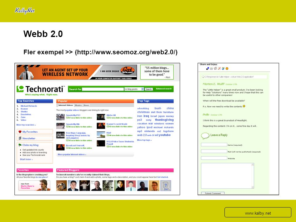 Webb 2.0 Fler exempel >> (http://www.seomoz.org/web2.0/) www.kalby.net