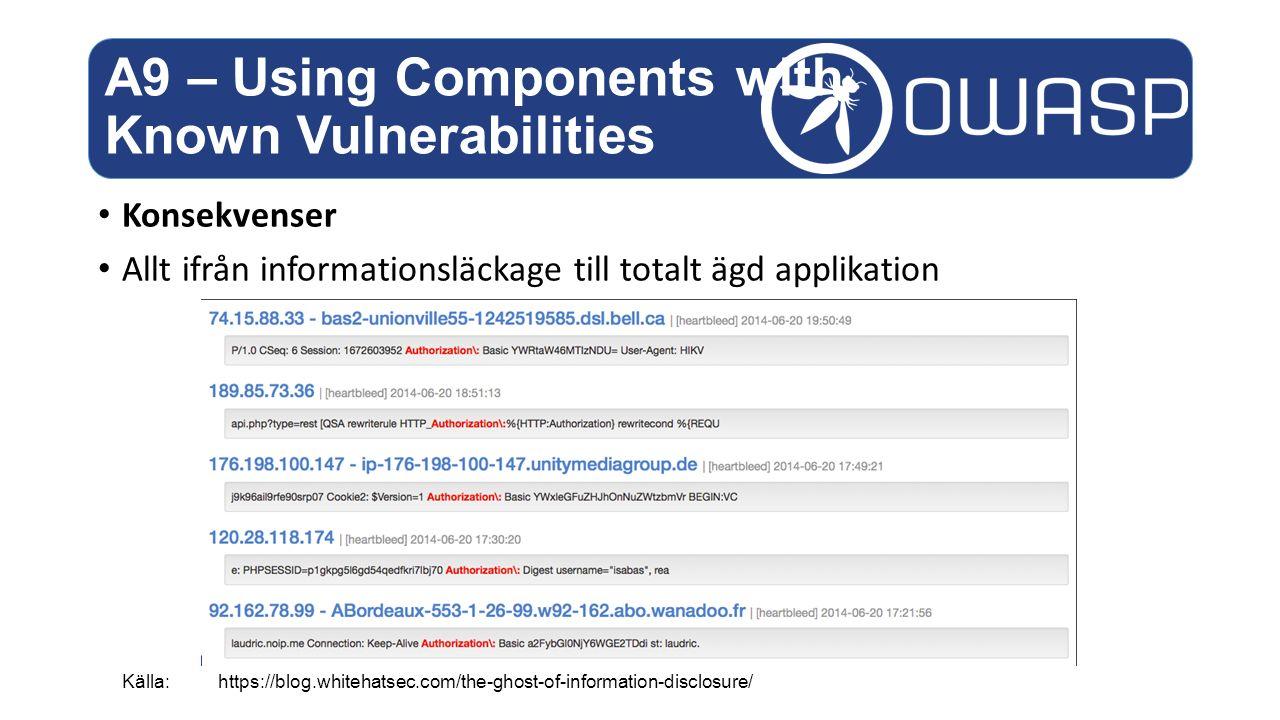 Konsekvenser Allt ifrån informationsläckage till totalt ägd applikation A9 – Using Components with Known Vulnerabilities Källa: https://blog.whitehatsec.com/the-ghost-of-information-disclosure/