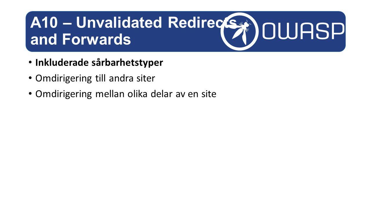 Inkluderade sårbarhetstyper Omdirigering till andra siter Omdirigering mellan olika delar av en site A10 – Unvalidated Redirects and Forwards