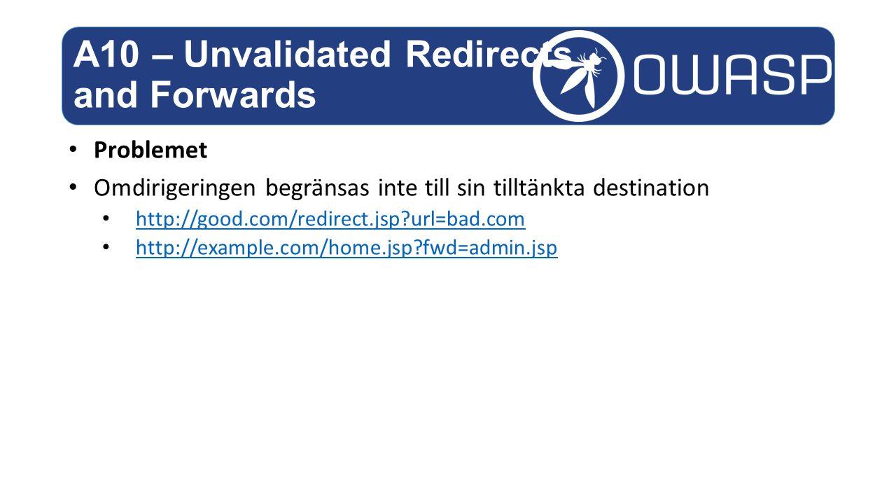 Problemet Omdirigeringen begränsas inte till sin tilltänkta destination http://good.com/redirect.jsp?url=bad.com http://example.com/home.jsp?fwd=admin.jsp A10 – Unvalidated Redirects and Forwards