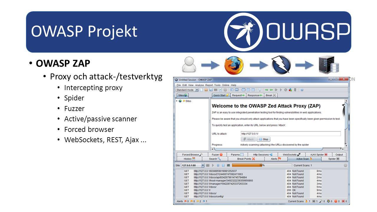 OWASP ZAP Proxy och attack-/testverktyg Intercepting proxy Spider Fuzzer Active/passive scanner Forced browser WebSockets, REST, Ajax...