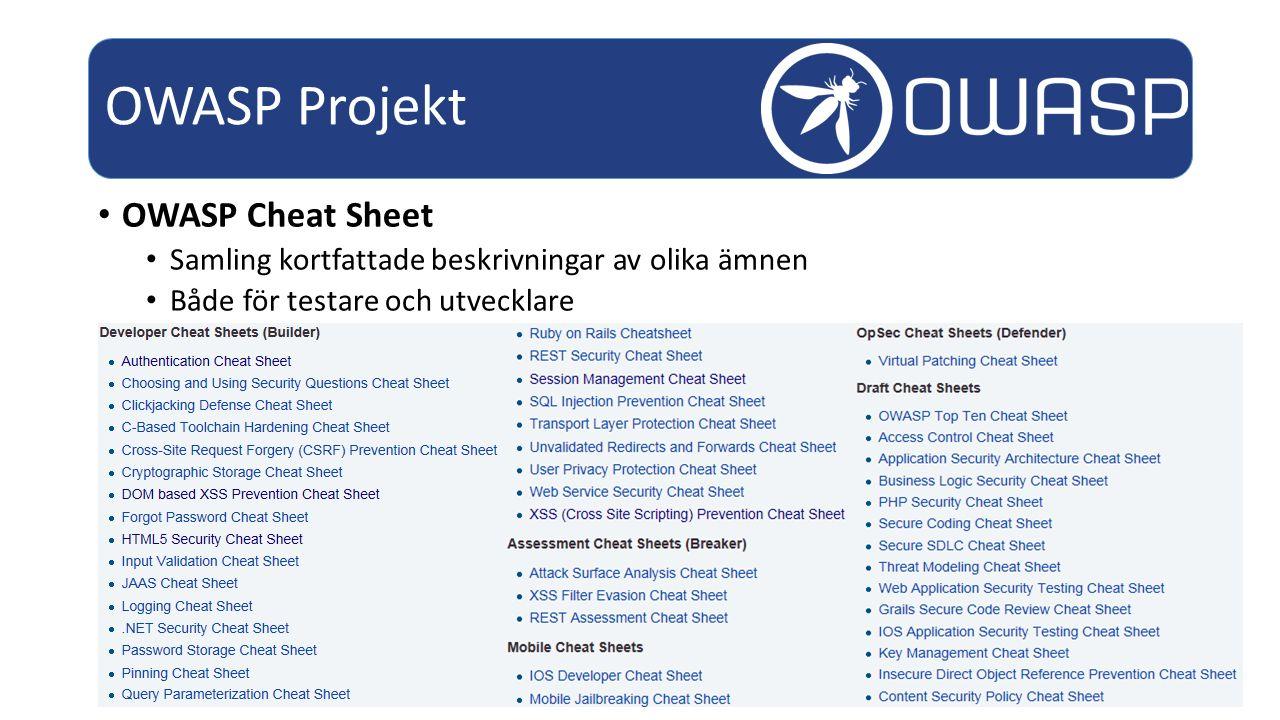 OWASP Cheat Sheet Samling kortfattade beskrivningar av olika ämnen Både för testare och utvecklare OWASP Projekt