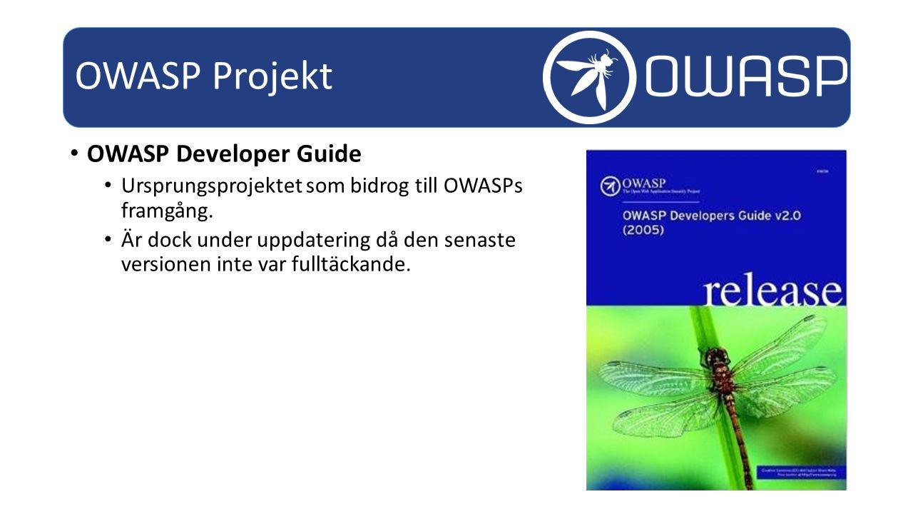OWASP Developer Guide Ursprungsprojektet som bidrog till OWASPs framgång.