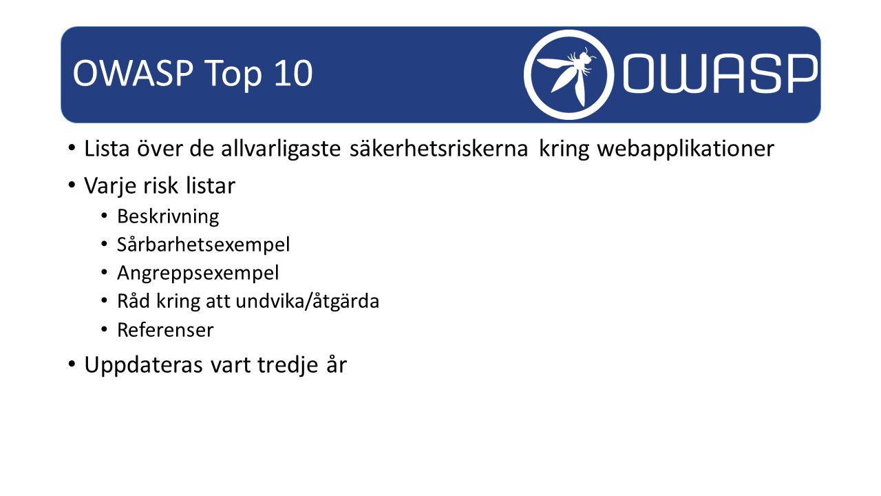 Lista över de allvarligaste säkerhetsriskerna kring webapplikationer Varje risk listar Beskrivning Sårbarhetsexempel Angreppsexempel Råd kring att undvika/åtgärda Referenser Uppdateras vart tredje år OWASP Top 10