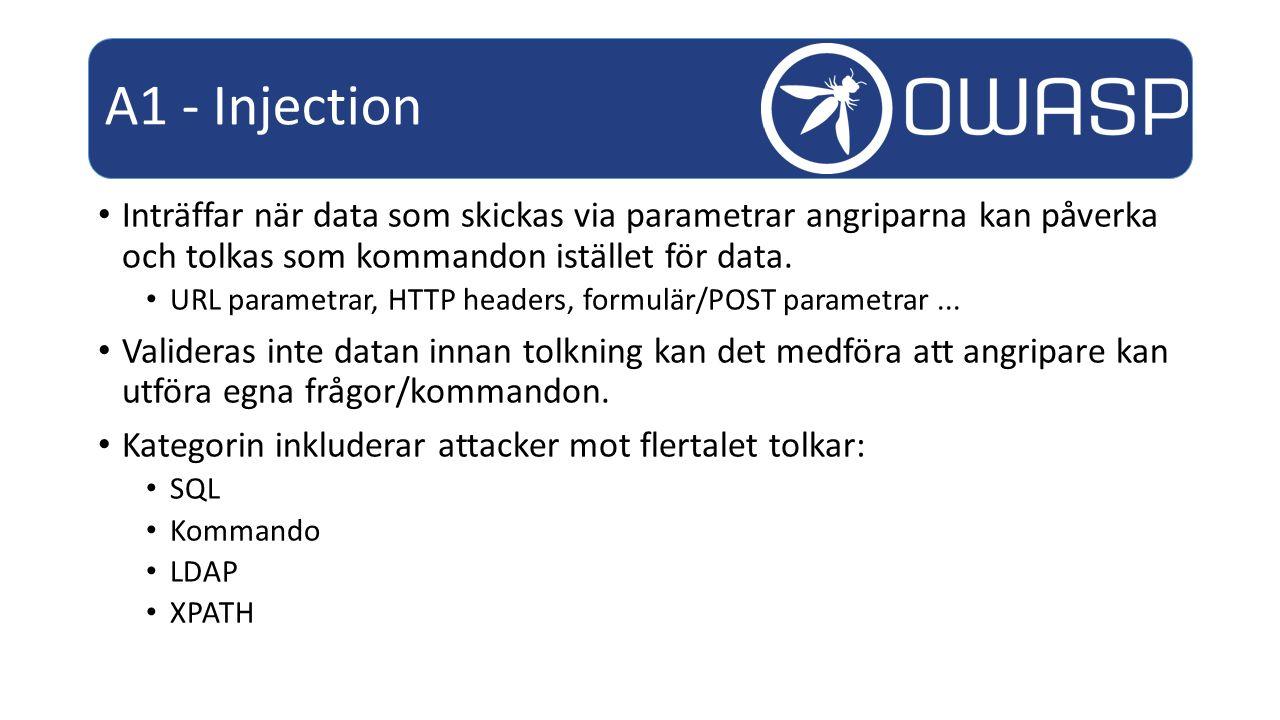 Inträffar när data som skickas via parametrar angriparna kan påverka och tolkas som kommandon istället för data.