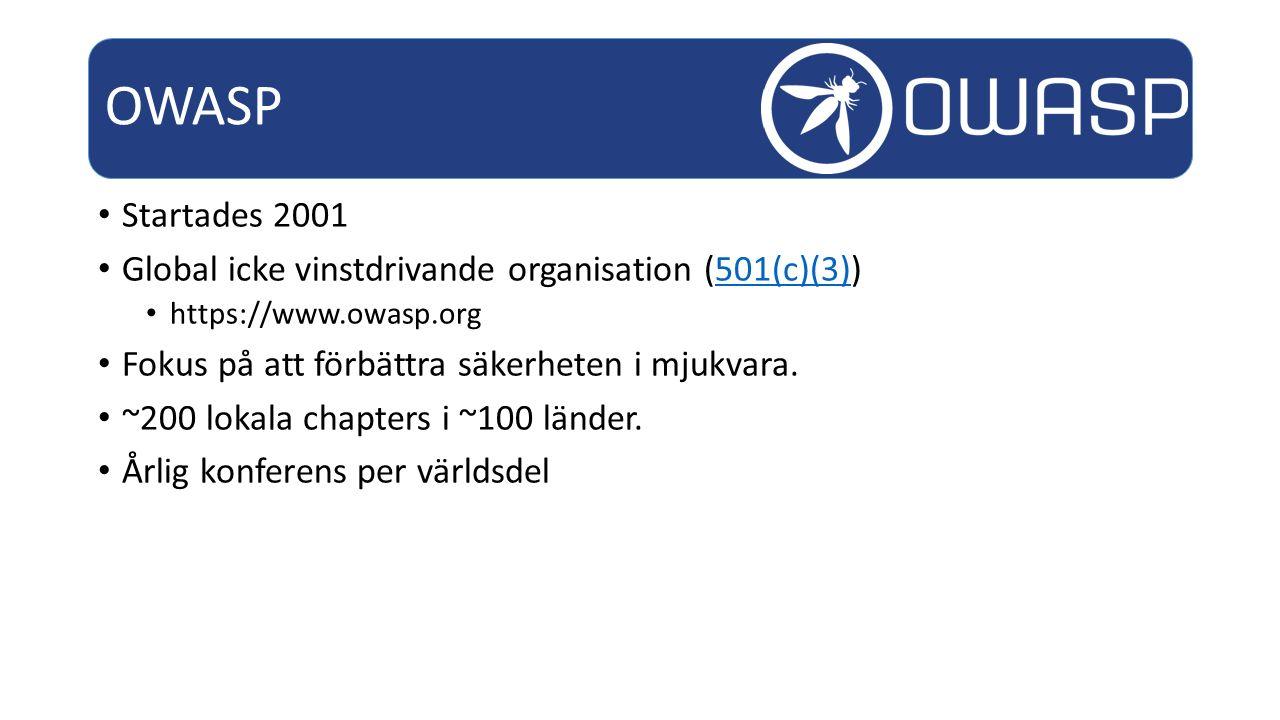 Startades 2001 Global icke vinstdrivande organisation (501(c)(3))501(c)(3) https://www.owasp.org Fokus på att förbättra säkerheten i mjukvara.