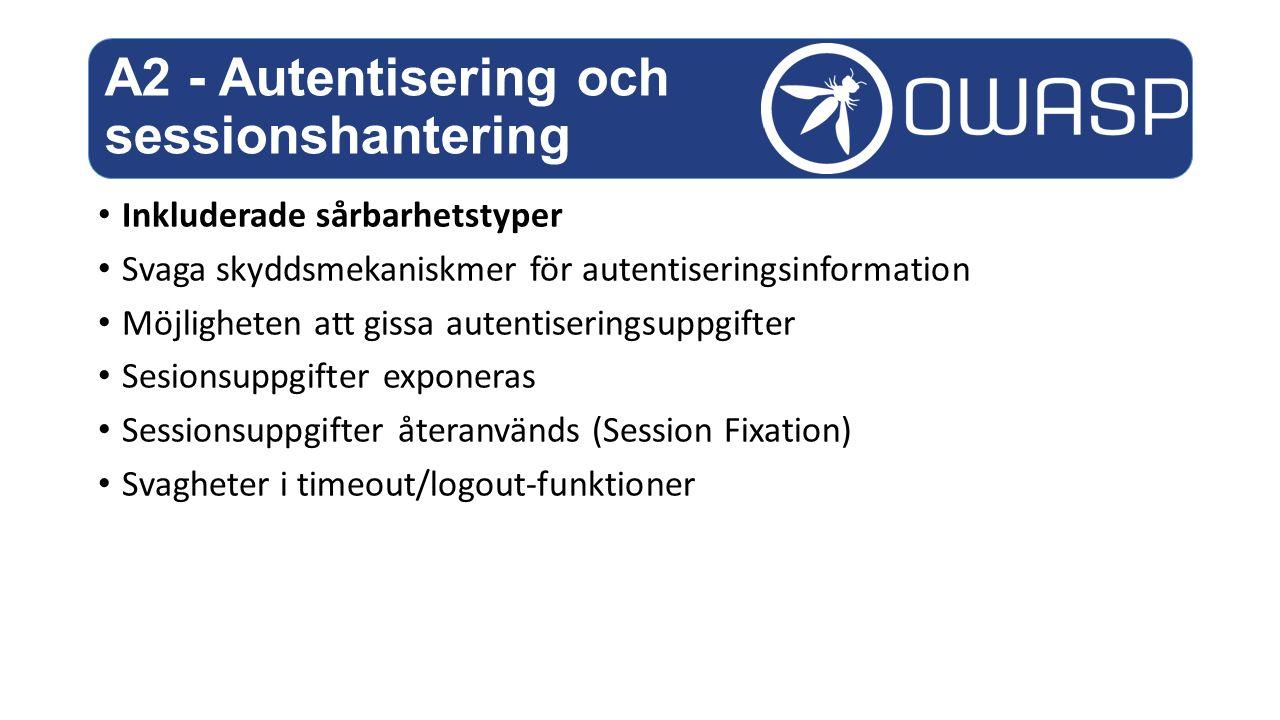 Inkluderade sårbarhetstyper Svaga skyddsmekaniskmer för autentiseringsinformation Möjligheten att gissa autentiseringsuppgifter Sesionsuppgifter exponeras Sessionsuppgifter återanvänds (Session Fixation) Svagheter i timeout/logout-funktioner A2 - Autentisering och sessionshantering