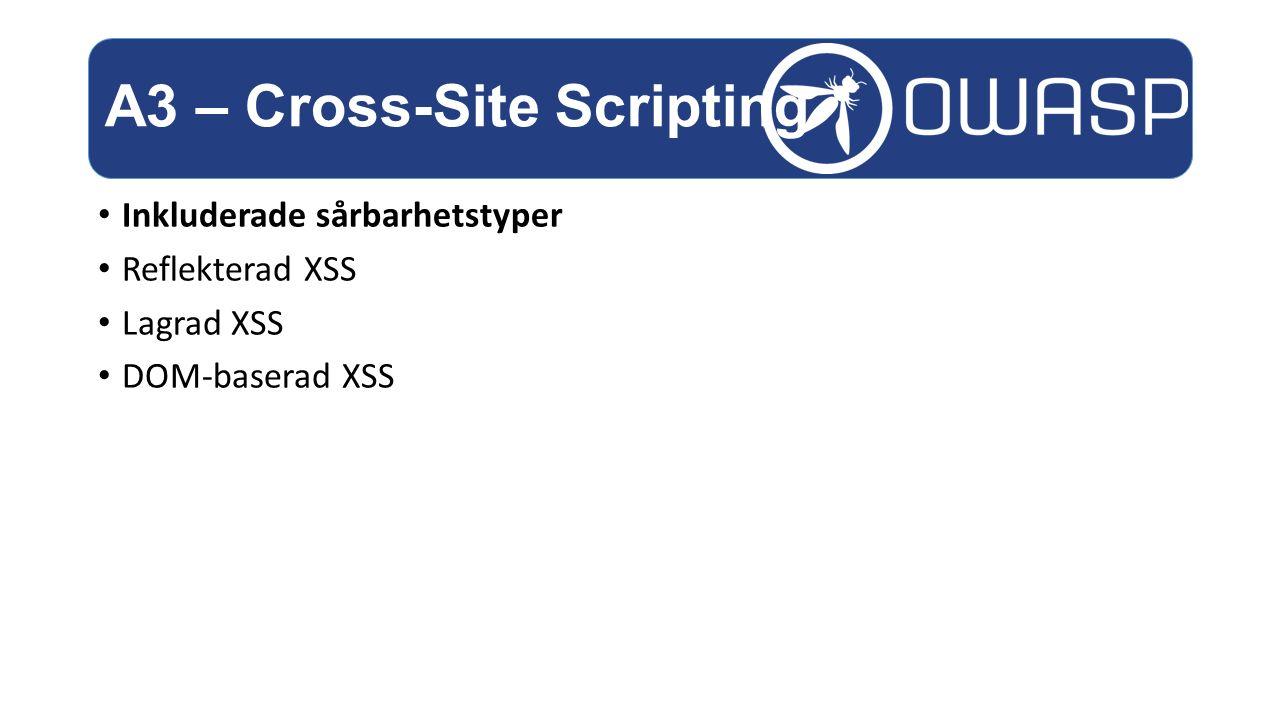 Inkluderade sårbarhetstyper Reflekterad XSS Lagrad XSS DOM-baserad XSS A3 – Cross-Site Scripting