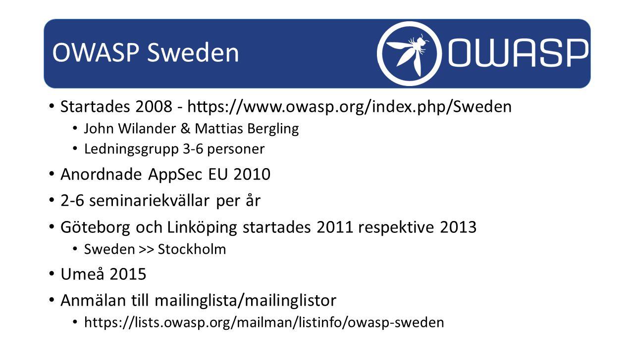 Startades 2008 - https://www.owasp.org/index.php/Sweden John Wilander & Mattias Bergling Ledningsgrupp 3-6 personer Anordnade AppSec EU 2010 2-6 seminariekvällar per år Göteborg och Linköping startades 2011 respektive 2013 Sweden >> Stockholm Umeå 2015 Anmälan till mailinglista/mailinglistor https://lists.owasp.org/mailman/listinfo/owasp-sweden OWASP Sweden
