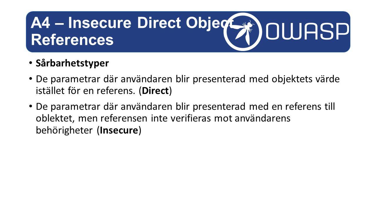 Sårbarhetstyper De parametrar där användaren blir presenterad med objektets värde istället för en referens.