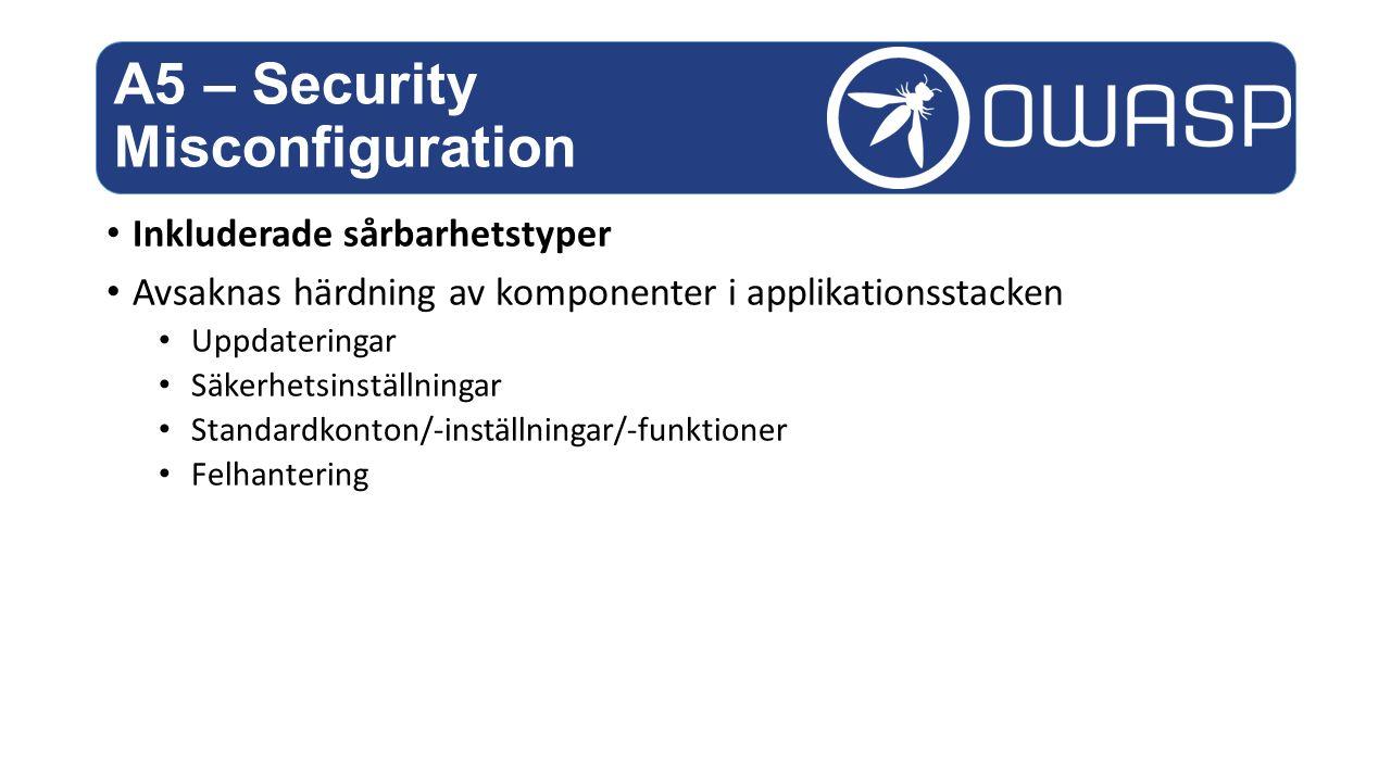Inkluderade sårbarhetstyper Avsaknas härdning av komponenter i applikationsstacken Uppdateringar Säkerhetsinställningar Standardkonton/-inställningar/-funktioner Felhantering A5 – Security Misconfiguration