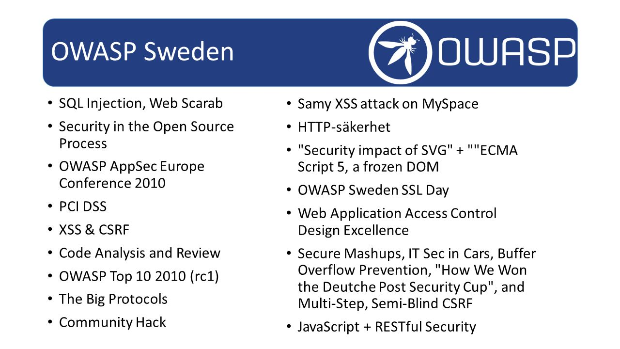 SQL Injection, Web Scarab Security in the Open Source Process OWASP AppSec Europe Conference 2010 PCI DSS XSS & CSRF Code Analysis and Review OWASP To
