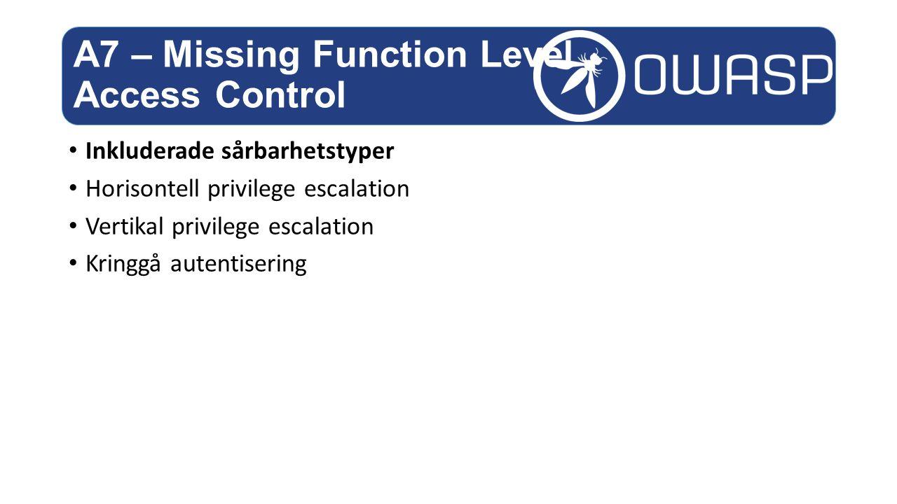 Inkluderade sårbarhetstyper Horisontell privilege escalation Vertikal privilege escalation Kringgå autentisering A7 – Missing Function Level Access Control
