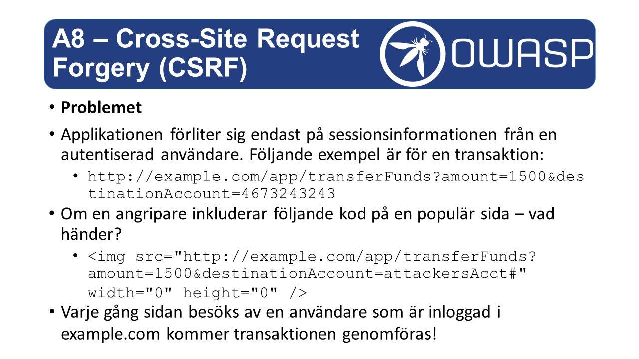Problemet Applikationen förliter sig endast på sessionsinformationen från en autentiserad användare.
