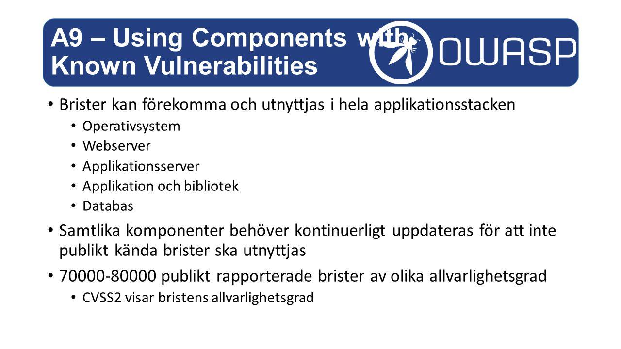 Brister kan förekomma och utnyttjas i hela applikationsstacken Operativsystem Webserver Applikationsserver Applikation och bibliotek Databas Samtlika komponenter behöver kontinuerligt uppdateras för att inte publikt kända brister ska utnyttjas 70000-80000 publikt rapporterade brister av olika allvarlighetsgrad CVSS2 visar bristens allvarlighetsgrad A9 – Using Components with Known Vulnerabilities