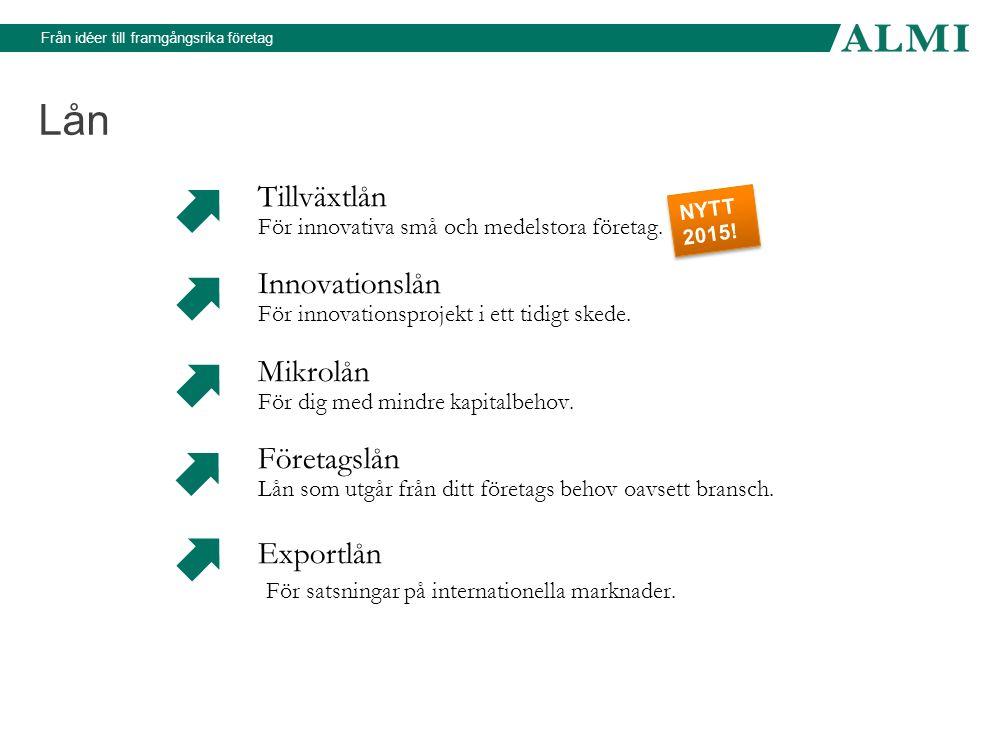 Från idéer till framgångsrika företag Lån Tillväxtlån För innovativa små och medelstora företag. Innovationslån För innovationsprojekt i ett tidigt sk