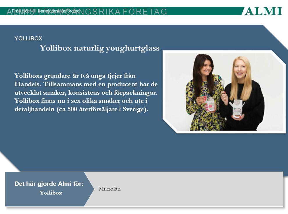 Från idéer till framgångsrika företag Det här gjorde Almi för: ALMIS FRAMGÅNGSRIKA FÖRETAG YOLLIBOX Yolliboxs grundare är två unga tjejer från Handels