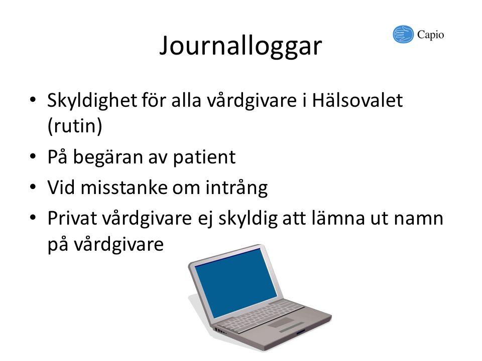 Journalloggar Skyldighet för alla vårdgivare i Hälsovalet (rutin) På begäran av patient Vid misstanke om intrång Privat vårdgivare ej skyldig att lämn
