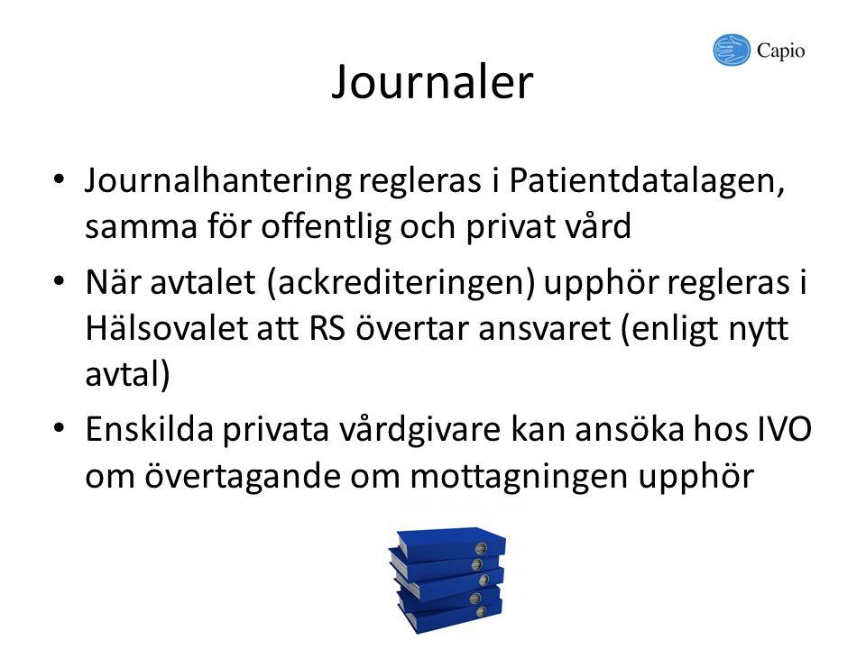 Journaler Journalhantering regleras i Patientdatalagen, samma för offentlig och privat vård När avtalet (ackrediteringen) upphör regleras i Hälsovalet