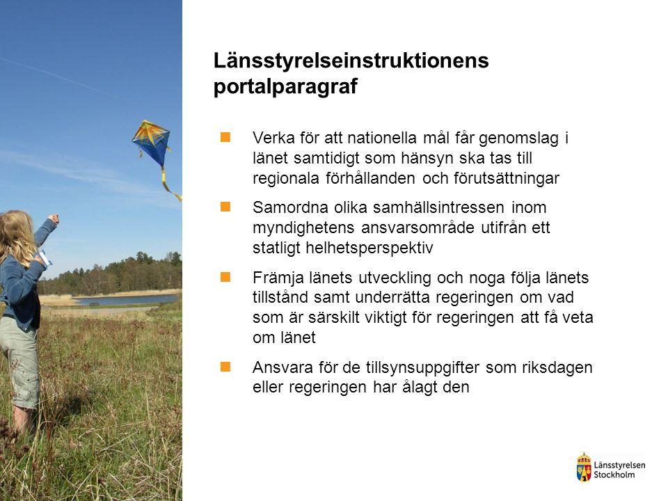 Länsstyrelseinstruktionens portalparagraf Verka för att nationella mål får genomslag i länet samtidigt som hänsyn ska tas till regionala förhållanden