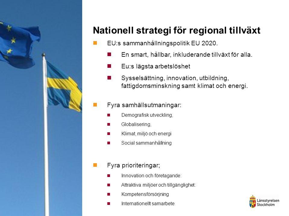 Nationell strategi för regional tillväxt EU:s sammanhållningspolitik EU 2020. En smart, hållbar, inkluderande tillväxt för alla. Eu:s lägsta arbetslös
