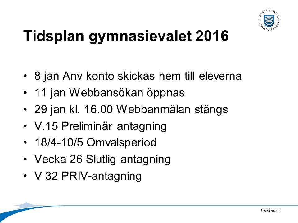 Tidsplan gymnasievalet 2016 8 jan Anv konto skickas hem till eleverna 11 jan Webbansökan öppnas 29 jan kl.