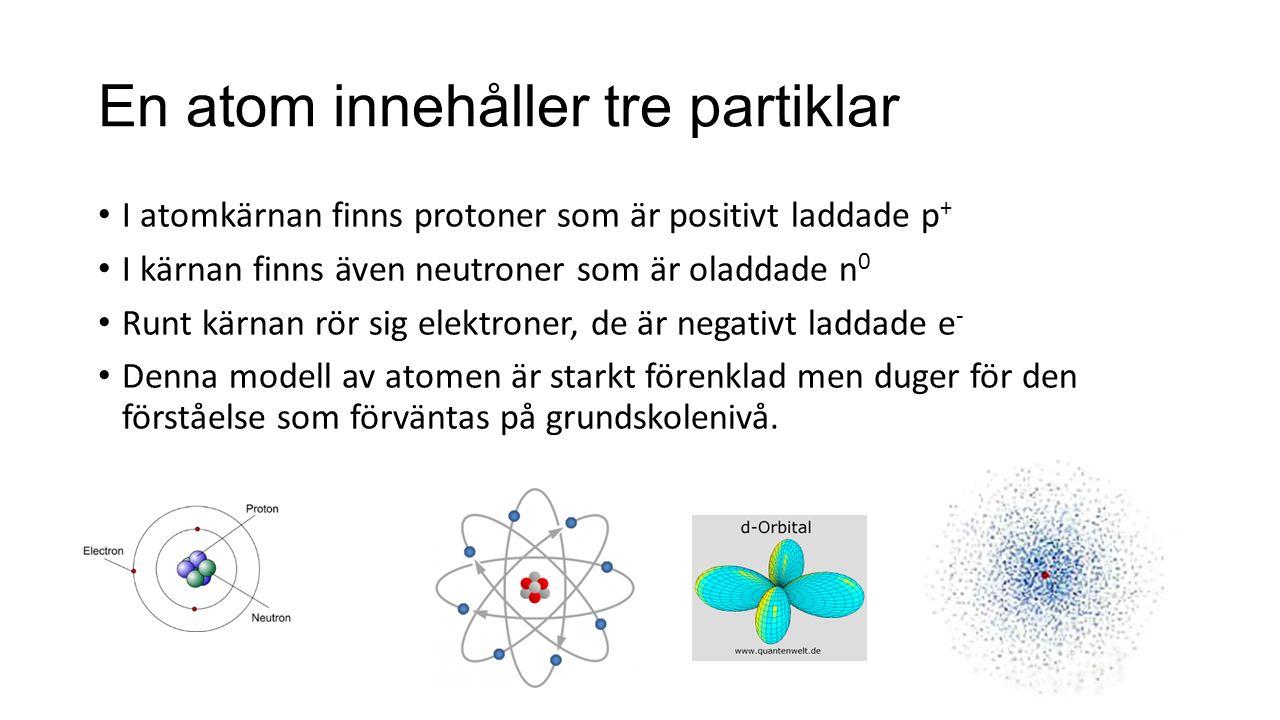 En atom innehåller tre partiklar I atomkärnan finns protoner som är positivt laddade p + I kärnan finns även neutroner som är oladdade n 0 Runt kärnan