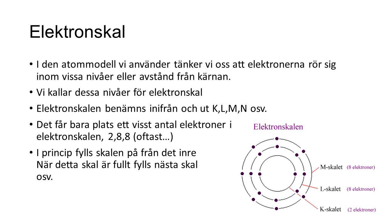 Elektronskal I den atommodell vi använder tänker vi oss att elektronerna rör sig inom vissa nivåer eller avstånd från kärnan. Vi kallar dessa nivåer f