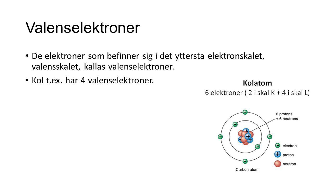 Valenselektroner De elektroner som befinner sig i det yttersta elektronskalet, valensskalet, kallas valenselektroner. Kol t.ex. har 4 valenselektroner