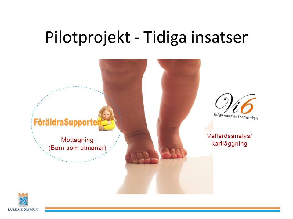 Pilotprojekt - Tidiga insatser Välfärdsanalys/ kartläggning Mottagning (Barn som utmanar)