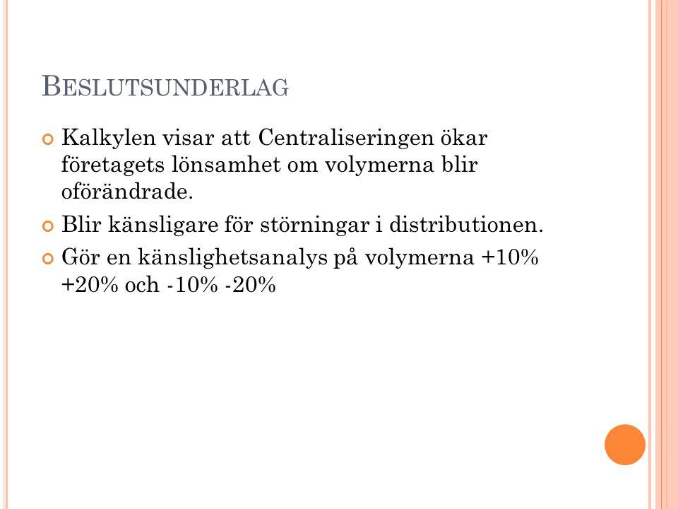 B ESLUTSUNDERLAG Kalkylen visar att Centraliseringen ökar företagets lönsamhet om volymerna blir oförändrade.