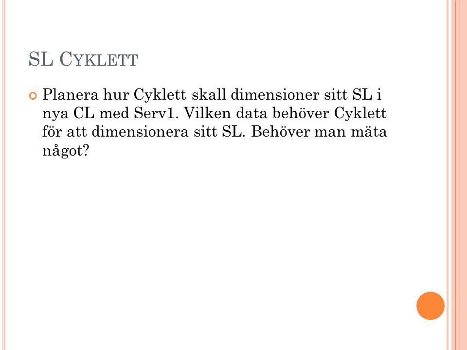 SL C YKLETT Planera hur Cyklett skall dimensioner sitt SL i nya CL med Serv1.